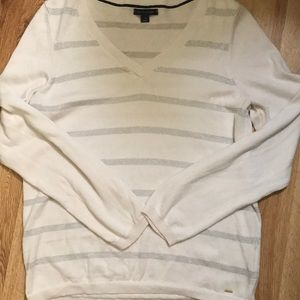 Tommy Hilfiger white and silver striped sweater
